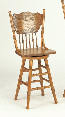 24 Inch Bar Stool with Back in Oak - Coaster