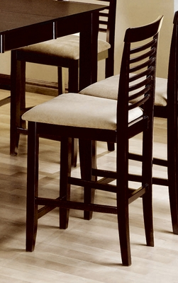 24 Inch Bar Stool with Ladder Back Design (Set of 2) in Cappuccino - Coaster