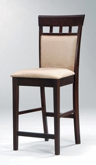 24 Inch Bar Stool with Upholstered Back (Set of 2) in Rich Cappuccino - Coaster