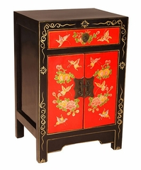 "24"" Lacquer Wood Storage Cabinet with Gold Floral Design in Red / Black - frc1089"