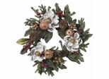 "24"" Magnolia Pinecone and Berry Wreath - Nearly Natural - 4923"