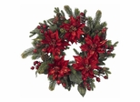 "24"" Poinsettia and Berry Wreath - Nearly Natural - 4919"