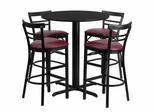 24'' Round Black Laminate Table and 4 Metal Bar Stools with Burgundy Vinyl Seat - HDBF1037-GG