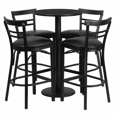 24'' Round Black Table Set with 4 Black Vinyl Seat Metal Bar Stools - RSRB1033-GG