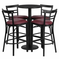 24'' Round Black Table Set with 4 Burgundy Vinyl Seat Metal Bar Stools - RSRB1037-GG