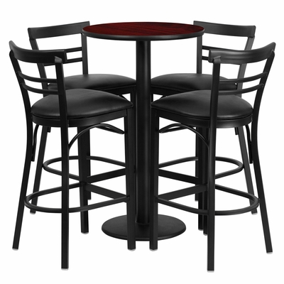 24'' Round Mahogany Table Set with 4 Black Vinyl Seat Metal Bar Stools - RSRB1034-GG