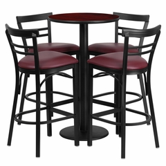 24'' Round Mahogany Table Set with 4 Burgundy Vinyl Seat Metal Bar Stools - RSRB1038-GG