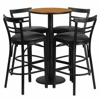 24'' Round Natural Table Set with 4 Black Vinyl Seat Metal Bar Stools - RSRB1035-GG