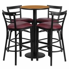 24'' Round Natural Table Set with 4 Burgundy Vinyl Seat Bar Stools - RSRB1039-GG