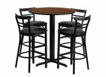 24'' Round Walnut Table and 4 Metal Bar Stools with Black Vinyl Seat - HDBF1036-GG