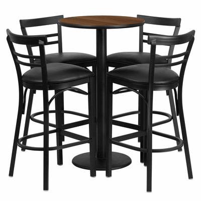24'' Round Walnut Table Set with 4 Black Vinyl Seat Metal Bar Stools - RSRB1036-GG