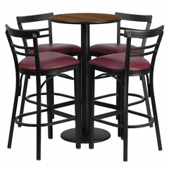 24'' Round Walnut Table Set with 4 Burgundy Vinyl Seat Bar Stools - RSRB1040-GG