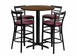 24'' Round Walnut Table Set with 4 Burgundy Vinyl Seat Metal Bar Stools - HDBF1040-GG