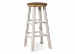 "24"" Roundtop Stool in White / Natural - 1S02-424"