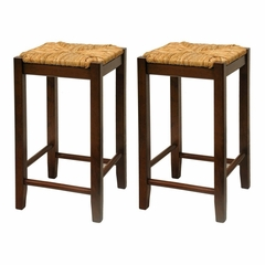 "24"" Rush Seat 24"" Stool - Set of 2 - Winsome Trading - 94774"