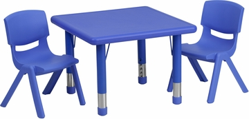 24'' Square Adjustable Blue Plastic Activity Table Set with 2 Chairs - YU-YCX-0023-2-SQR-TBL-BLUE-R-GG