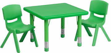 24'' Square Adjustable Green Plastic Activity Table Set with 2 Chairs - YU-YCX-0023-2-SQR-TBL-GREEN-R-GG