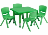 24'' Square Adjustable Green Plastic Activity Table Set with 4 Chairs - YU-YCX-0023-2-SQR-TBL-GREEN-E-GG