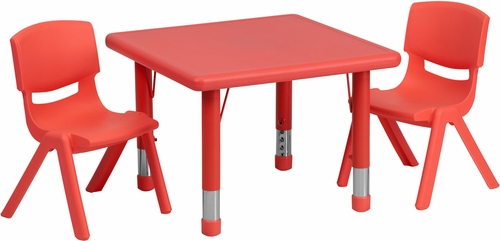 24'' Square Adjustable Red Plastic Activity Table Set with 2 Chairs - YU-YCX-0023-2-SQR-TBL-RED-R-GG