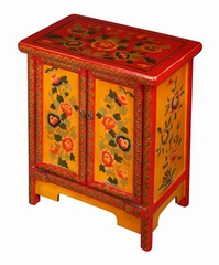 "24"" Tibetan Nightstand / Storage Cabinet with Floral Motif in Yellow / Red / Green - frc1002"