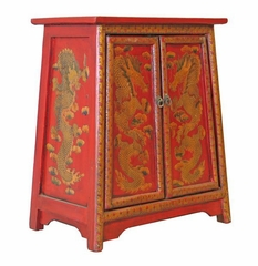 "24"" Tibetan Storage Cabinet / End Table with Gold Chinese Dragon Motif in Red - frc1027"