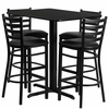 24''W x 42''L Rectangular Black Table Set with 4 Metal Bar Stools - HDBF1017-GG