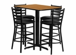 24''W x 42''L Rectangular Natural Table Set with 4 Bar Stools - HDBF1019-GG
