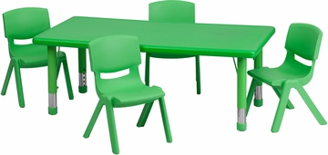 24''W x 48''L Adjustable Activity Table Set - YU-YCX-0013-2-RECT-TBL-GREEN-R-GG