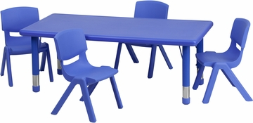 24''W x 48''L Adjustable Blue Plastic 5PC Activity Table Set - YU-YCX-0013-2-RECT-TBL-BLUE-R-GG