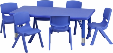24''W x 48''L Adjustable Blue Plastic 7PC Activity Table Set - YU-YCX-0013-2-RECT-TBL-BLUE-E-GG