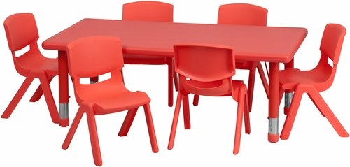 24''W x 48''L Adjustable Rectangular Red Plastic Activity Table Set - YU-YCX-0013-2-RECT-TBL-RED-E-GG