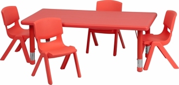 24''W x 48''L Adjustable Red Plastic 5PC Activity Table Set - YU-YCX-0013-2-RECT-TBL-RED-R-GG
