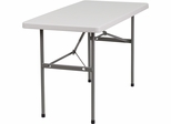 24''W x 48''L Granite White Plastic Folding Table  - RB-2448-GG