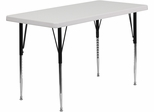 24''W x 48''L Height Adjustable Rectangular Granite White Plastic Activity Table  - RB-4824-GRY-A-GG