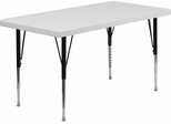 24''W x 48''L Height Adjustable Rectangular Granite White Plastic Pre-School Activity Table  - RB-4824-GRY-P-GG