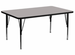 24''W x 48''L Rectangular Activity Table, 1.25'' Thick High Pressure Grey Laminate Top & Height Adjustable Pre-School Legs - XU-A2448-REC-GY-H-P-GG