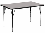 24''W x 48''L Rectangular Activity Table, 1.25'' Thick High Pressure Grey Laminate Top & Standard Height Adjustable Legs - XU-A2448-REC-GY-H-A-GG