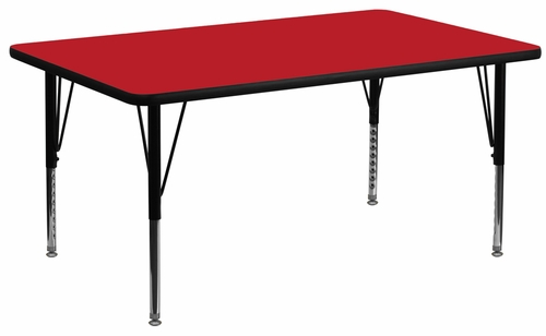 24''W x 48''L Rectangular Activity Table, 1.25'' Thick High Pressure Red Laminate Top & Height Adjustable Pre-School Legs - XU-A2448-REC-RED-H-P-GG
