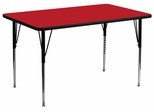 24''W x 48''L Rectangular Activity Table, 1.25'' Thick High Pressure Red Laminate Top & Standard Height Adjustable Legs - XU-A2448-REC-RED-H-A-GG