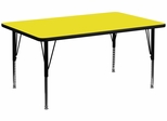 24''W x 48''L Rectangular Activity Table, 1.25'' Thick High Pressure Yellow Laminate Top & Height Adjustable Pre-School Legs - XU-A2448-REC-YEL-H-P-GG