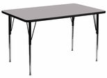 24''W x 48''L Rectangular Activity Table e- Standard Height Adjustable Legs - XU-A2448-REC-GY-T-A-GG