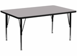 24''W x 48''L Rectangular Activity Table, Grey Thermal Fused Laminate Top & Height Adjustable Pre-School Legs - XU-A2448-REC-GY-T-P-GG