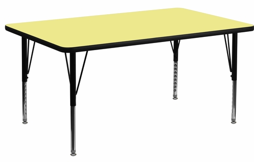 24''W x 48''L Rectangular Activity Table, Yellow Thermal Fused Laminate Top & Height Adjustable Pre-School Legs - XU-A2448-REC-YEL-T-P-GG