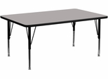 24''W x 60''L Rectangular Activity Table, 1.25'' Thick High Pressure Grey Laminate Top & Height Adjustable Pre-School Legs - XU-A2460-REC-GY-H-P-GG