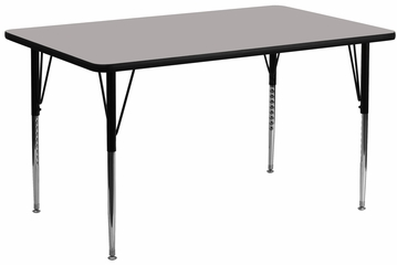24''W x 60''L Rectangular Activity Table, 1.25'' Thick High Pressure Grey Laminate Top & Standard Height Adjustable Legs - XU-A2460-REC-GY-H-A-GG