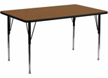 24''W x 60''L Rectangular Activity Table, 1.25'' Thick High Pressure Oak Laminate Top & Standard Height Adjustable Legs - XU-A2460-REC-OAK-H-A-GG