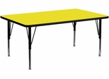 24''W x 60''L Rectangular Activity Table, 1.25'' Thick High Pressure Yellow Laminate Top & Height Adjustable Pre-School Legs - XU-A2460-REC-YEL-H-P-GG
