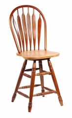 "24"" Windsor Steambent Arrowback Swivel Stool in Cinnamon / Espresso - S58-2062"
