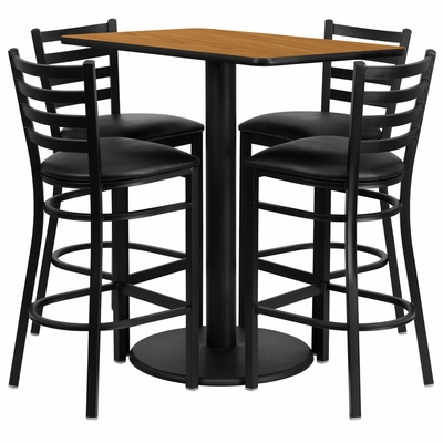 24'' x 42'' Rectangular Natural Laminate Table Set, 4 Ladder Back Metal Bar Stools - RSRB1019-GG
