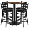 24'' x 42'' Rectangular Walnut Laminate Table Set, 4 Ladder Back Metal Bar Stools - RSRB1020-GG
